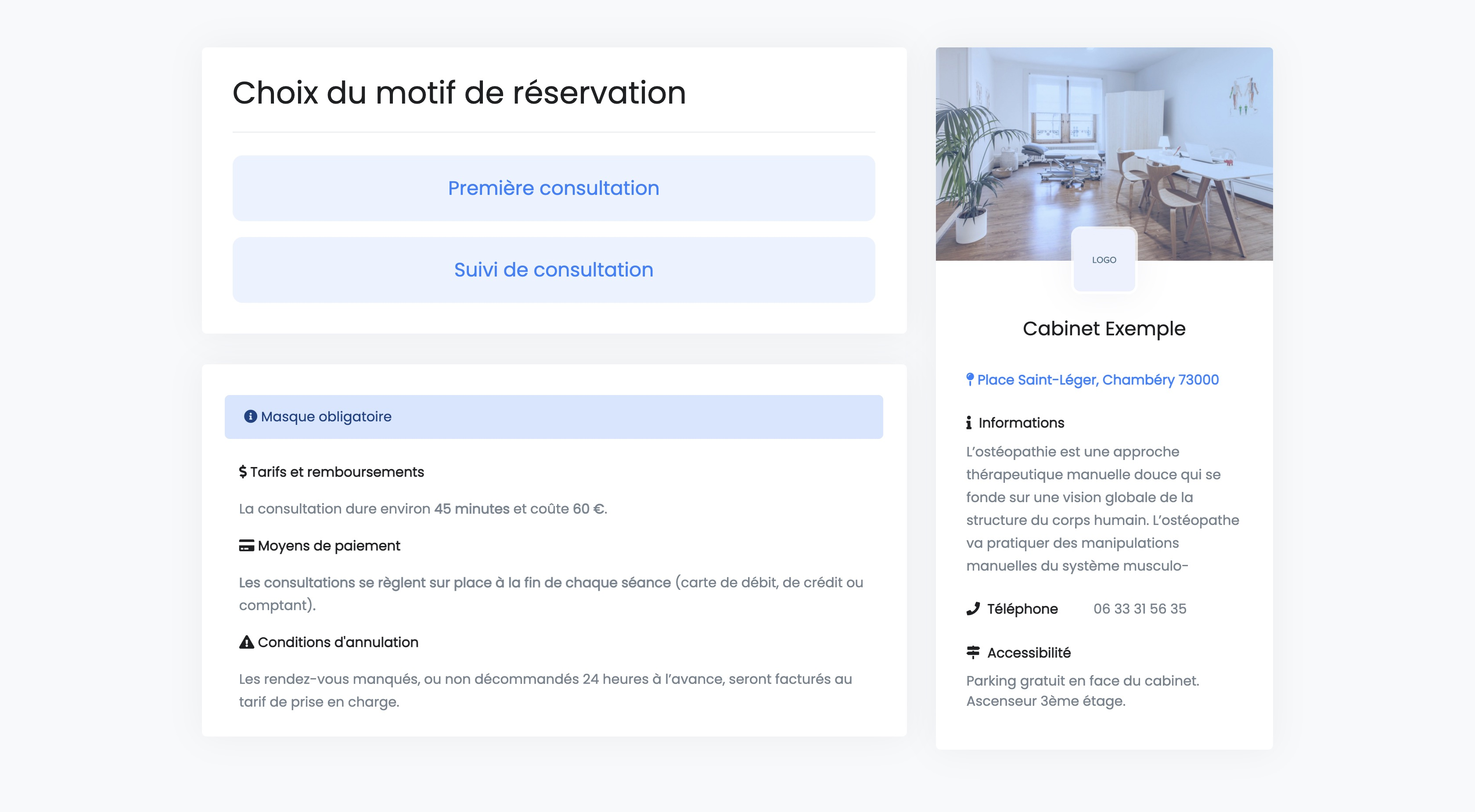 Réservation en ligne | Choix du motif de consultation | PERFACTIVE